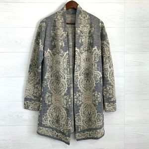 Chicos 1/Med Gray Gold Metallic Knit Cardigan